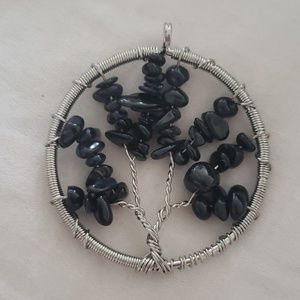 Jewelry - Black tourmaline wrapped tree of life pendant NEW